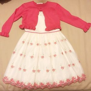 NWT White And Pink Floral Dress with Pink Cover-Up